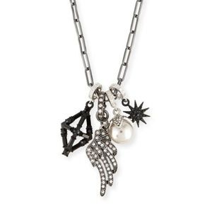 Lulu Frost Crystal Star & Wing Charm Necklace NWT